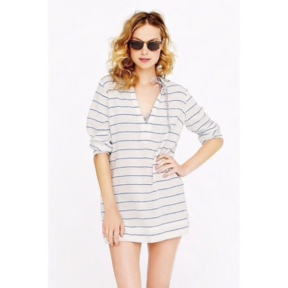 J. Crew • V Neck Wave Blue Stripe Tunic